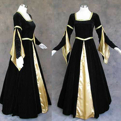 Black Velvet Gold Medieval Renaissance Gown Vampire Dress Costume Goth Wedding M](Renaissance Vampire Costume)