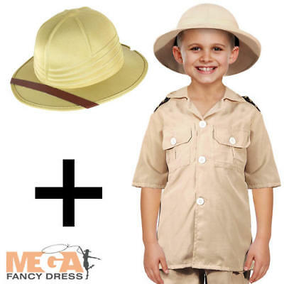 Safari Explorer Boys Fancy Dress Jungle Zoo Keeper Uniform Kids Costume + Hat  ()