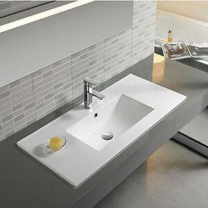 Lavabo bianco dafne da incasso 60cm lavandino design moderno rettangolare ebay - Lavandino incasso bagno ...