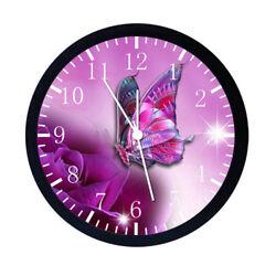 Beautiful Purple Butterfly Black Frame Wall Clock E21