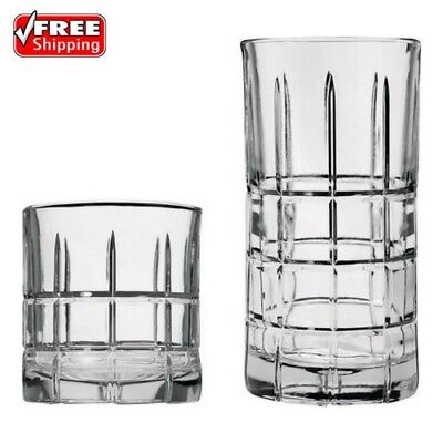 Clear Drinking Glassware Set 16 Piece Glass Water Kitchen Beverage Cups Bar New