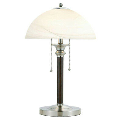 Table Lamp 22.5 Inch On Off Switch Alabaster Frosted Glass Shade Satin Steel Cap