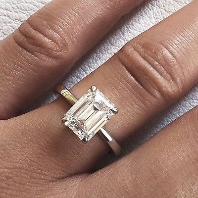 Conflict Free 1 50 Ct  Emerald Cut Diamond Engagement Solitaire Ring Gia H  Vs1