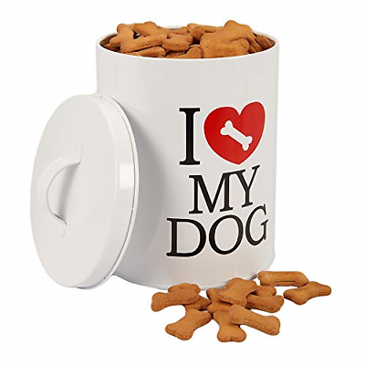 Pet Food Treat Canister with Lid Tin Storage Container Jar Dog Biscuit Cookies