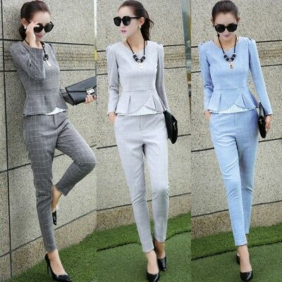 Feet Long Sleeve - NEW Womens Check Long Sleeve Tops Feet Cultivate Morality Pants Two-piece Suits