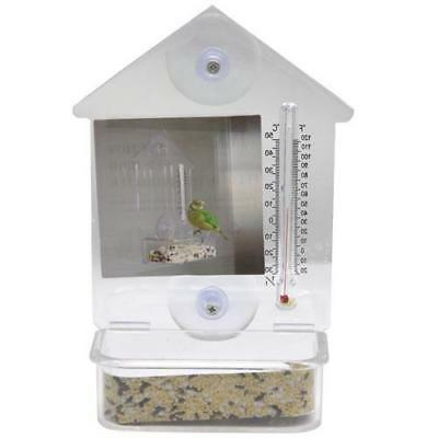 "Clear Bird Feeder Window Suction Cup w/ Thermometer 7""x4"" Bird Seed"