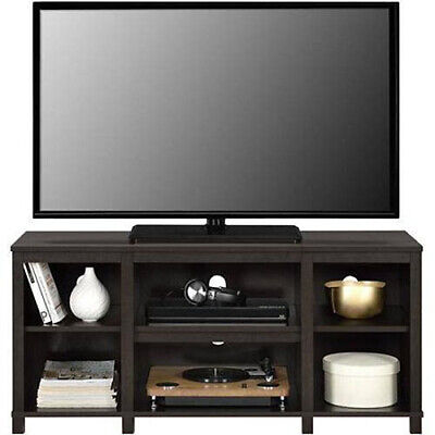 Entertainment Cubby TV Stand, up to 50 inch TV, Espresso Dark Brown Wood Finish - Finished Wood Tv Stand