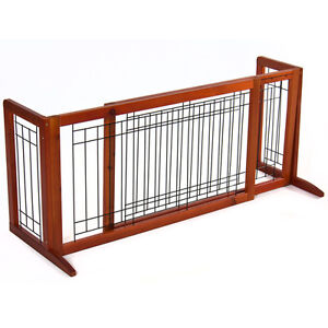 Pet Fence Gate Free Standing Adjustable Dog Gate Indoor Solid Wood ...