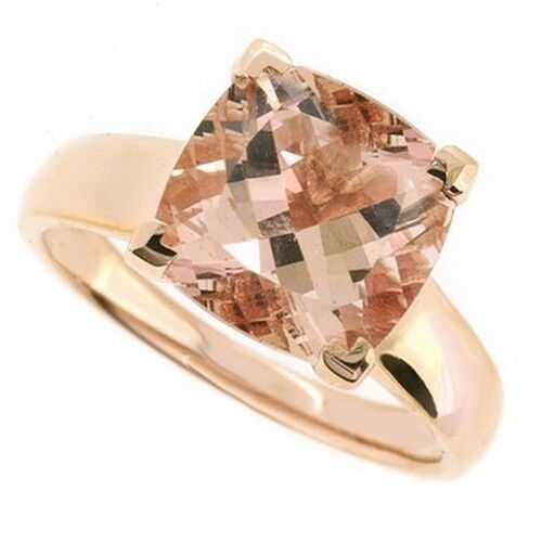 3.58ct Peach Pink Morganite & Diamond Solitaire Cocktail Ring 14k Rose Gold