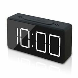 GLOUE Small Mini Digital Alarm Clock for Travel with LED Time or Black2