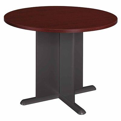 Bush Round Conference Table Mahogany Top And Edgegraphite Gray Base - Tb36742a