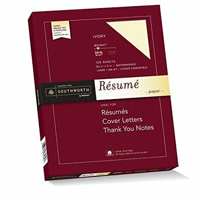 Southworth Exceptional Resume Paper 100% Cotton 24 lb Ivory 100 Count R14ICF
