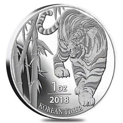 2018 Silver Tiger South Korea 1 Oz Pure Bu Coin Round In Airtite Pre Sale