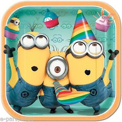 DESPICABLE ME 2 LARGE SQUARE PAPER PLATES (8) ~ Birthday Party Supplies Minions ()