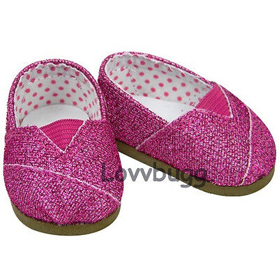 Dark Pink Glitter Sparkle Tomsy Doll Shoes for American Girl 18 inch or Bitty Baby 15 inch Doll Shoes Clothes