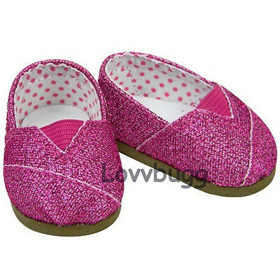 """Lovvbugg Dark Pink Glitter Sparkle Tomsy for 18"""" American Girl or Bitty Baby Doll Shoes"""