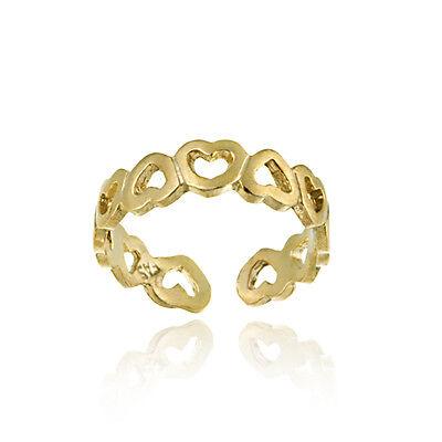 18k Gold Over Silver Filigree - 18K Gold Over Silver Filigree Hearts Toe Ring