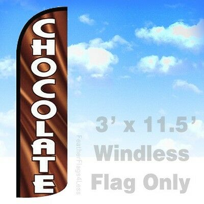 Chocolate Windless Swooper Flag 3x11.5 Feather Banner Sign - Q