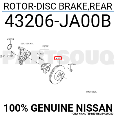 43206JA00B Genuine Nissan ROTOR-DISC BRAKE,REAR 43206-JA00B