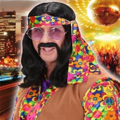 PERÜCKE LENNON schwarz 70er Jahre Karneval Hippie Kostüm (6495)
