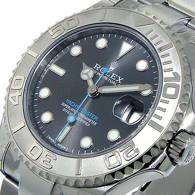 UNWORN ROLEX 37 mm 268622 STEEL PLATINUM YACHTMASTER DARK RHODIUM DIAL BLUE HAND