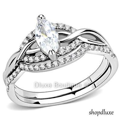 WOMEN'S MARQUISE CUT CZ STAINLESS STEEL ENGAGEMENT & WEDDING