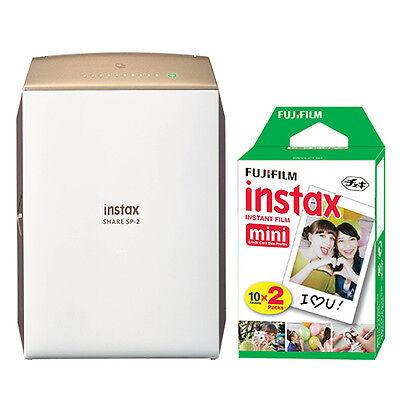 Fujifilm Instax Share Smartphone Fuji Instax Printer Sp 2 Gold   20 Instant Film