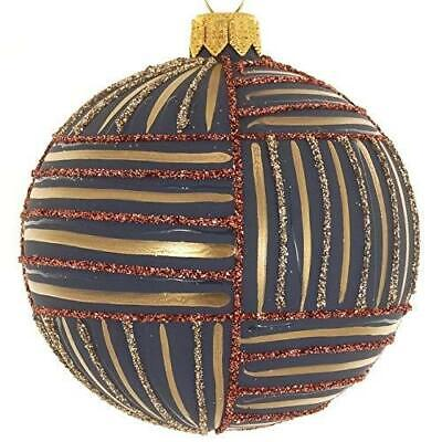 (D) Red-Blue Ribbon 4-pc Round Holiday Ornament Set, Christmas Tree Decoration