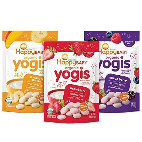 Happy Baby Organics Yogis Freeze-Dried Yogurt & Fruit Snacks, 3 Flavor Variety