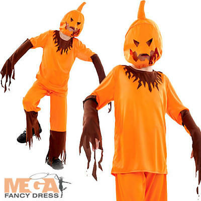 Scary Pumpkin Kids Halloween Spooky Trick Treat Boys Girls Children Costume 4-12 (Scary Kids Halloween Costumes For Girls)