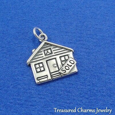 925 Sterling Silver Sold House Realtor Real Estate Homeowner Charm Pendant  New