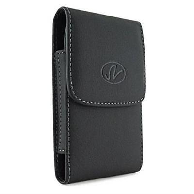 Kyocera Leather (Black Vertical Leather Clip Side Holster Case Pouch For Kyocera DuraForce Pro )