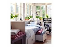 IKEA HEMNES Day-bed w 3 drawers/2 mattresses, white, Malfors firm sofa bed