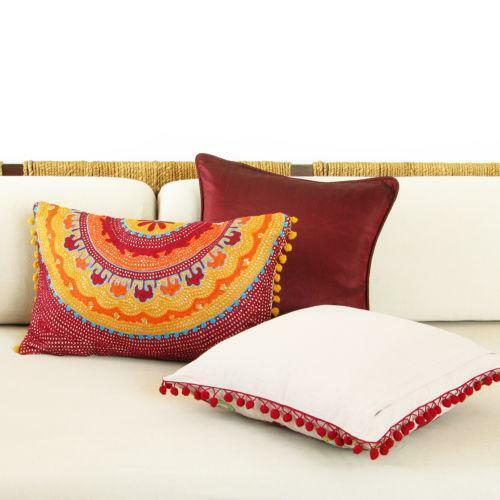 Bed & Bath Linens Sporting Stunning Vintage Hand-embroidered Woolen Multi-color Pillowcase Pillow