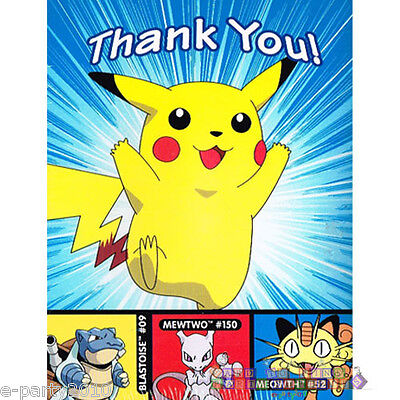POKEMON THANK YOU NOTES (8) ~ Birthday Party Supplies Stationery Pikachu Cards - Pokemon Thank You