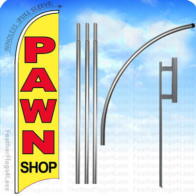 Pawn Shop Windless Swooper Feather Banner Sign Flag 15 Kit - Yb