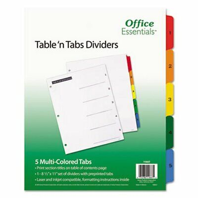 Office Essentials Table N Tabs Dividers 1-5 Letter 5 Tabs Ave11667