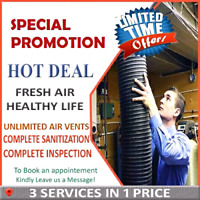 Complete Duct cleaning with unlimited vents , free Inspections