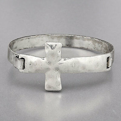 Antique Silver Simple Religiously Inspired Hammered Cross Cuff (Hammered Silver Cuff Bracelet)