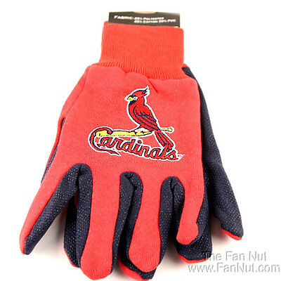 St Louis Cardinals Two-Tone Pair GRIP Gloves Sport Work Utility MLB -