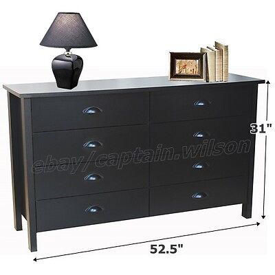 كومودينو جديد Bedroom Storage Double Dresser Chest 8 Drawer Modern Wood Furniture Black