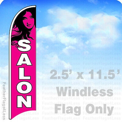 Salon - Windless Swooper Feather Flag 2.5x11.5 Banner Sign - Pb