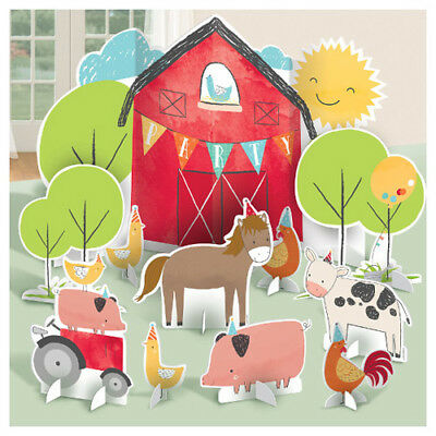 FARM PARTY Barnyard Birthday TABLE DECORATING KIT (11pc) ~ Supplies Centerpiece