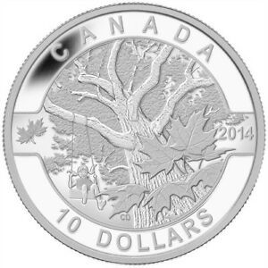 2014 $10 Silver Coin - O Canada - Down by the Old Maple Tree