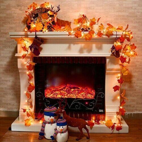 Fall Thanksgiving Maple Leaves 30 LED Light Lamp Garland Festival Decor US Ship