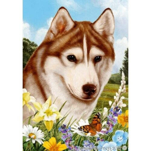 Summer House Flag - Red and White Siberian Husky 18230