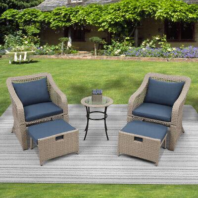 5PCS Rattan Patio Furniture Set Garden Lawn Sofa Set 4 Cushions Seat...