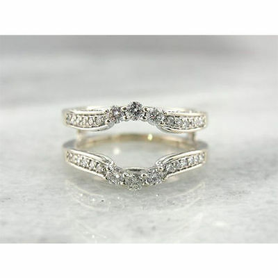 1 1/2ct Diamond Engagement Enhancer Wrap Band Ring In 10K White Gold