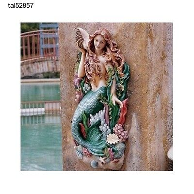 Mermaid Wall Sculpture Nautical Statue Figurine Garden Pool Decor Exotic Large