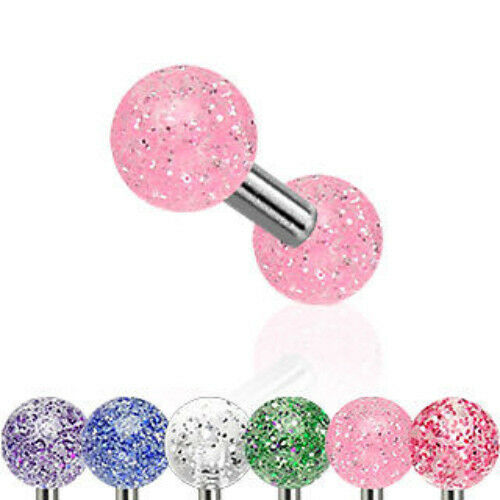 G#3 - 6pcs Glitter UV Ball Stud Tragus Rings Wholesale Body Jewelry